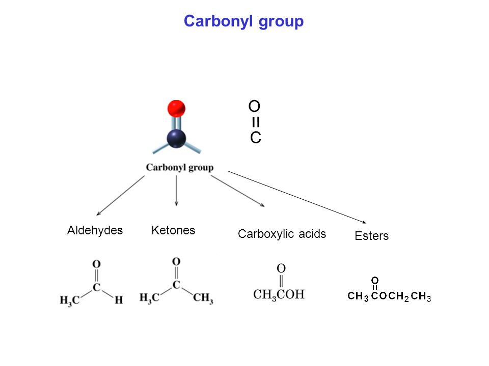 Carbonyl group C = O Aldehydes Ketones Carboxylic acids Esters