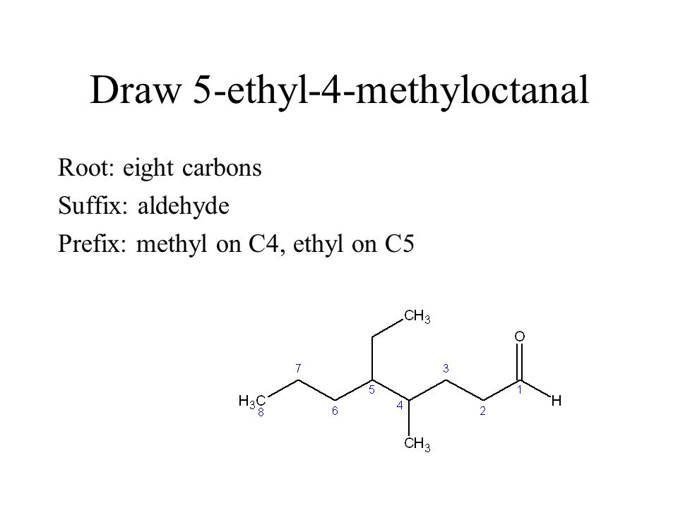 Draw 5-ethyl-4-methyloctanal Root: eight carbons Suffix: aldehyde Prefix: methyl on C4, ethyl on C5