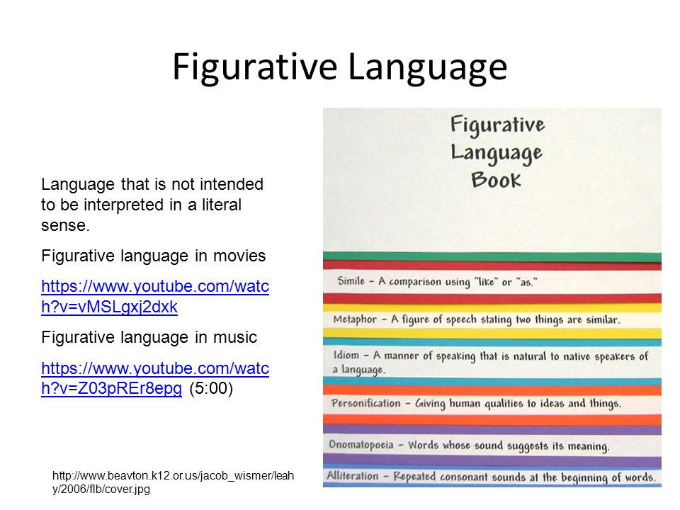 Figurative Language Language that is not intended to be interpreted in a literal sense. Figurative language in movies https://www.youtube.com/watc h?v