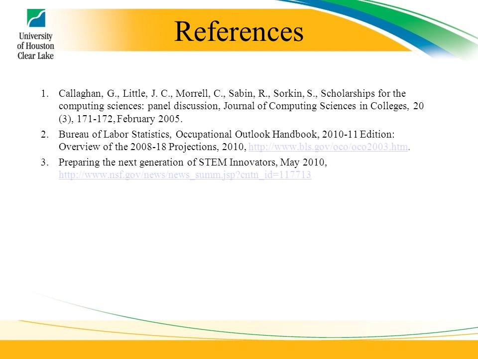 References 1.Callaghan, G., Little, J.