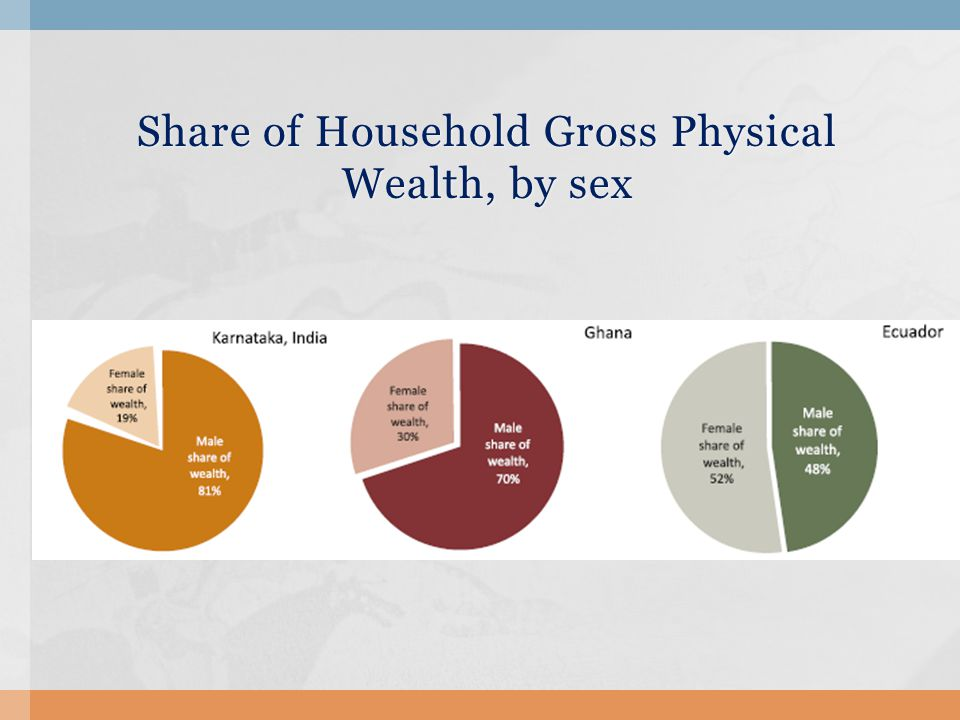 Share of Household Gross Physical Wealth, by sex Share of Household Gross Physical Wealth, by sex
