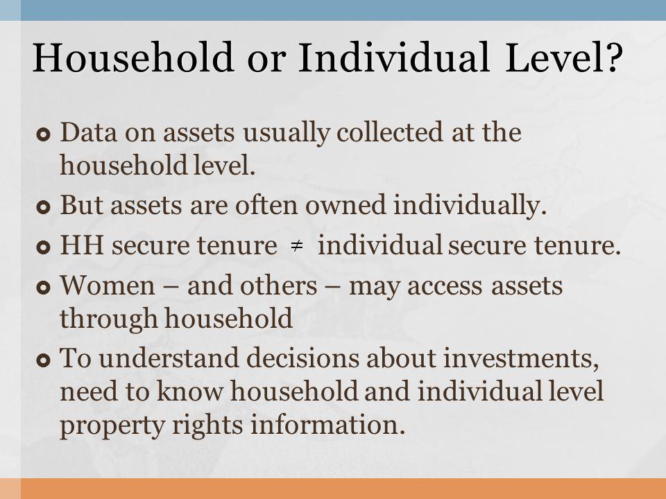 To address the lack of data on individual asset ownership and property rights, the Gender Asset Gap Project collected individual level asset ownership and rights data from Ecuador, Ghana and Karnataka, India.