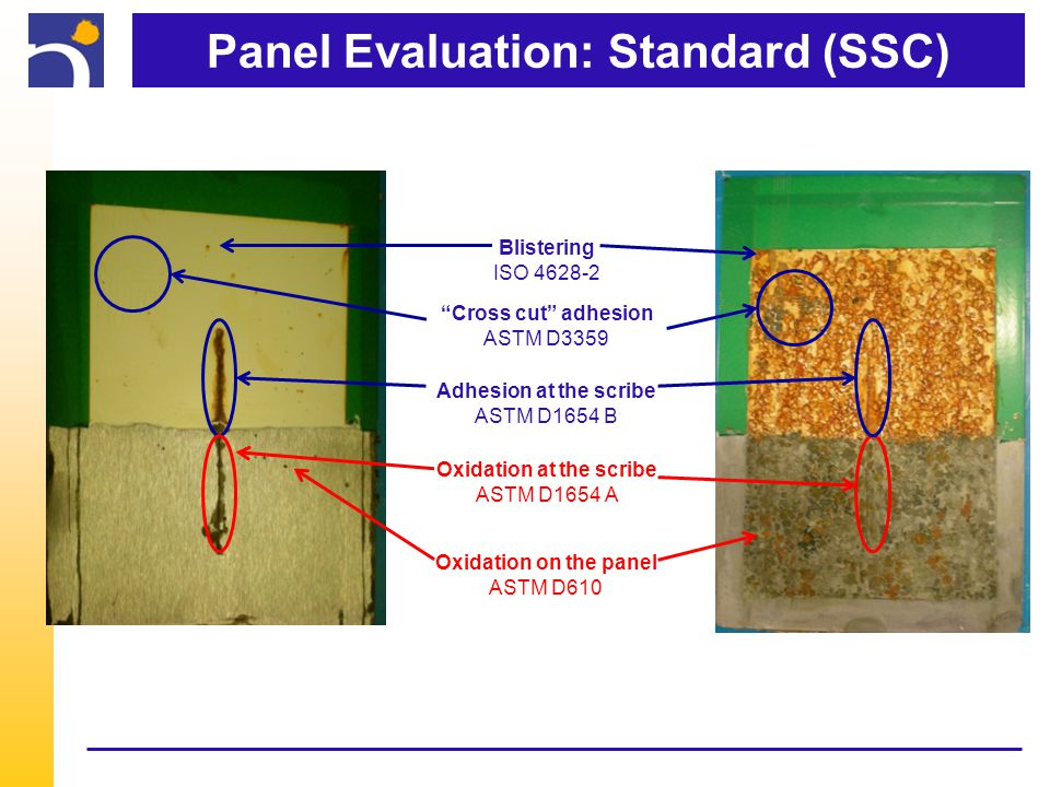 Panel Evaluation: Standard (SSC) Cross cut adhesion ASTM D3359 Adhesion at the scribe ASTM D1654 B Oxidation at the scribe ASTM D1654 A Oxidation on the panel ASTM D610 Blistering ISO 4628-2