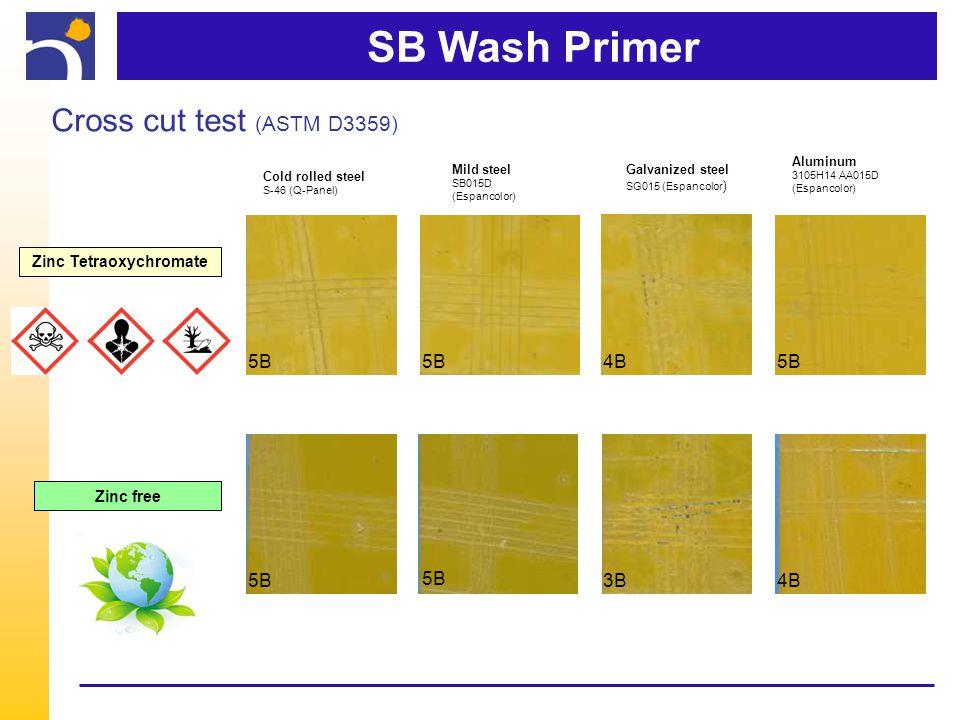 SB Wash Primer Cold rolled steel S-46 (Q-Panel) 5B Mild steel SB015D (Espancolor) 5B Galvanized steel SG015 (Espancolor ) 4B Aluminum 3105H14 AA015D (Espancolor) 5B 3B4B Zinc Tetraoxychromate Zinc free Cross cut test (ASTM D3359)