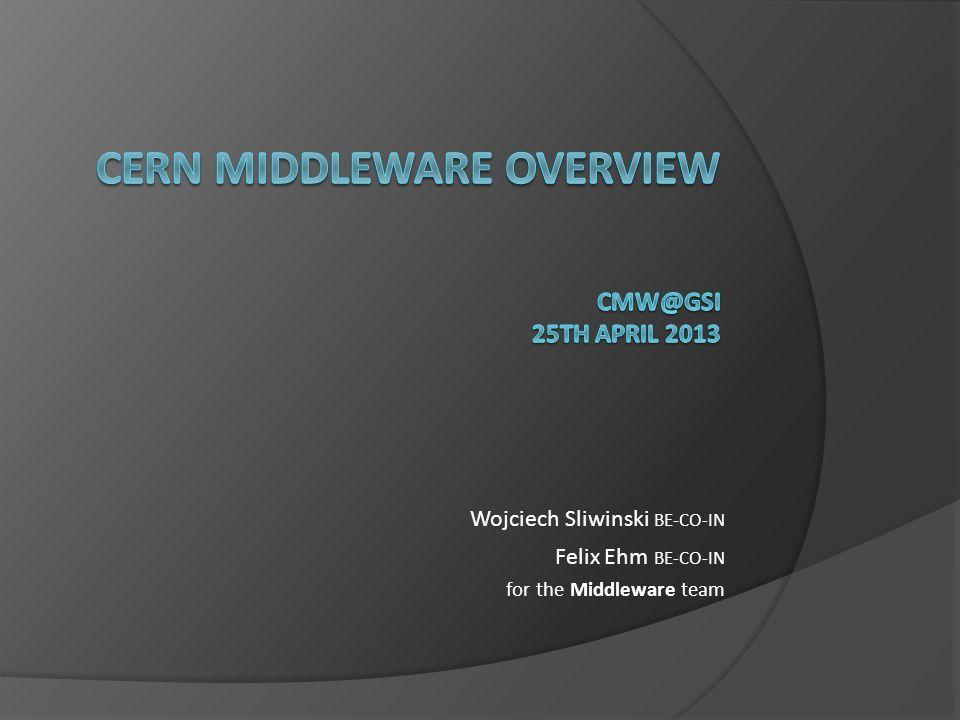 Wojciech Sliwinski BE-CO-IN Felix Ehm BE-CO-IN for the Middleware team