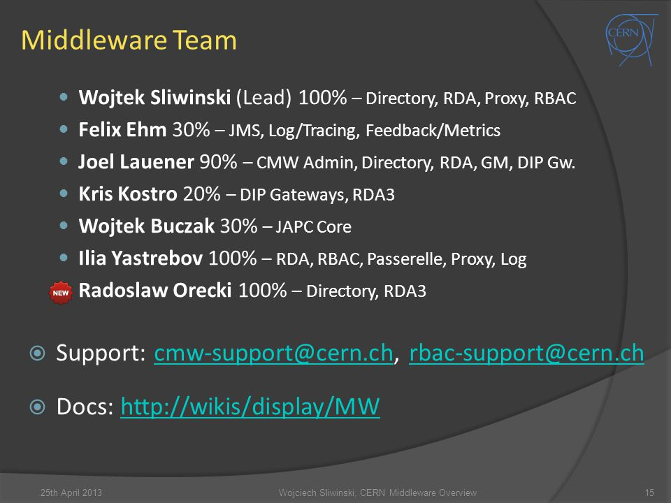 Middleware Team Wojtek Sliwinski (Lead) 100% – Directory, RDA, Proxy, RBAC Felix Ehm 30% – JMS, Log/Tracing, Feedback/Metrics Joel Lauener 90% – CMW Admin, Directory, RDA, GM, DIP Gw.