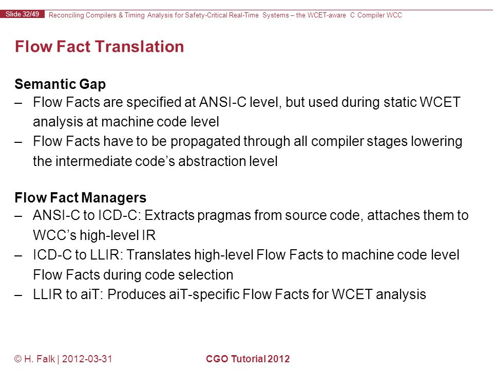 Reconciling Compilers & Timing Analysis for Safety-Critical Real-Time Systems – the WCET-aware C Compiler WCC Slide 32/49 © H.