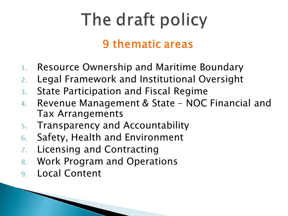 9 thematic areas 1. Resource Ownership and Maritime Boundary 2.