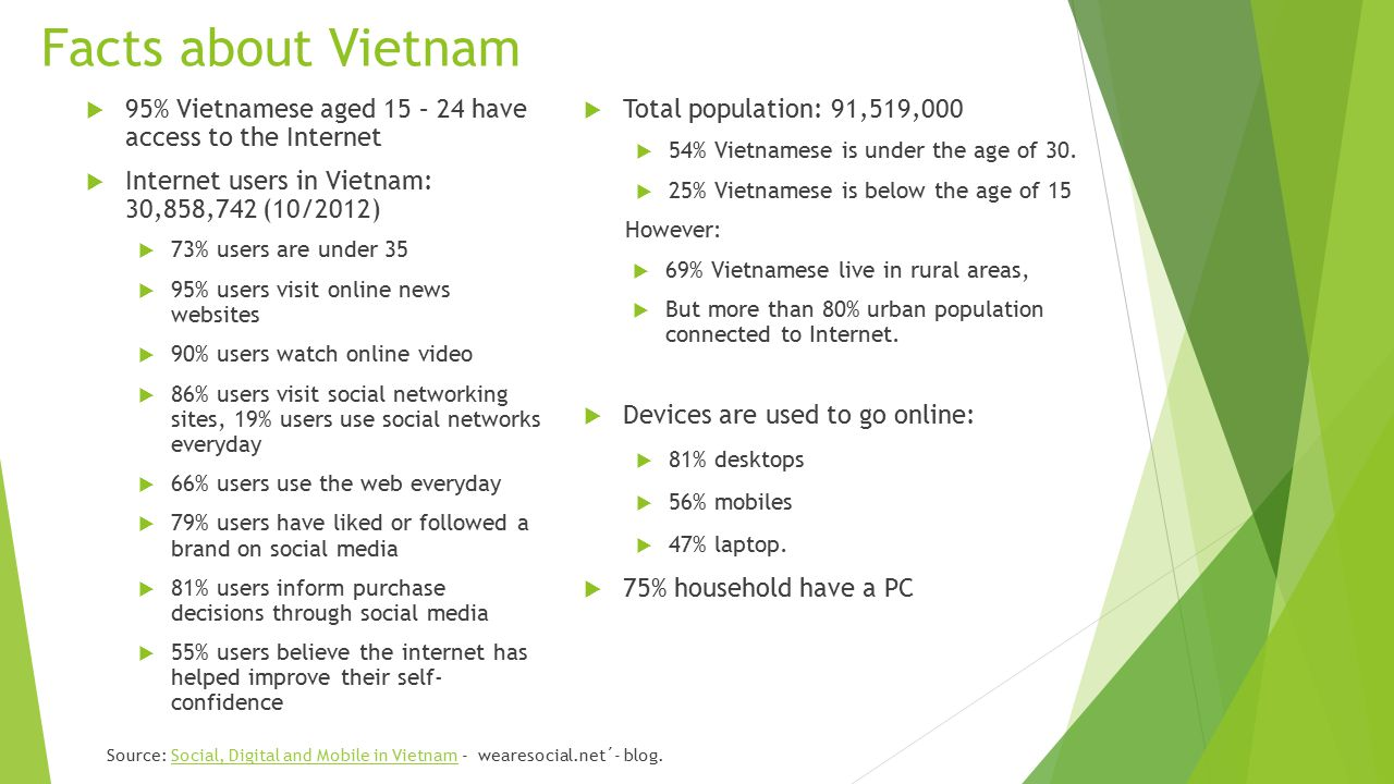 Social Network  Facebook  1 st social network site in Vietnam  Total users: 8,525,000 (10/2012) and 19,6 million users (8/2013)  Local Social Network  Zing Me.