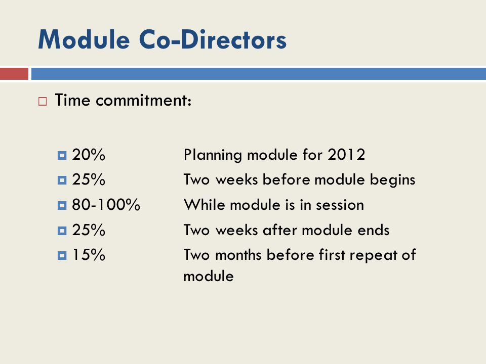 Module Co-Directors  Time commitment:  20%Planning module for 2012  25%Two weeks before module begins  80-100%While module is in session  25%Two