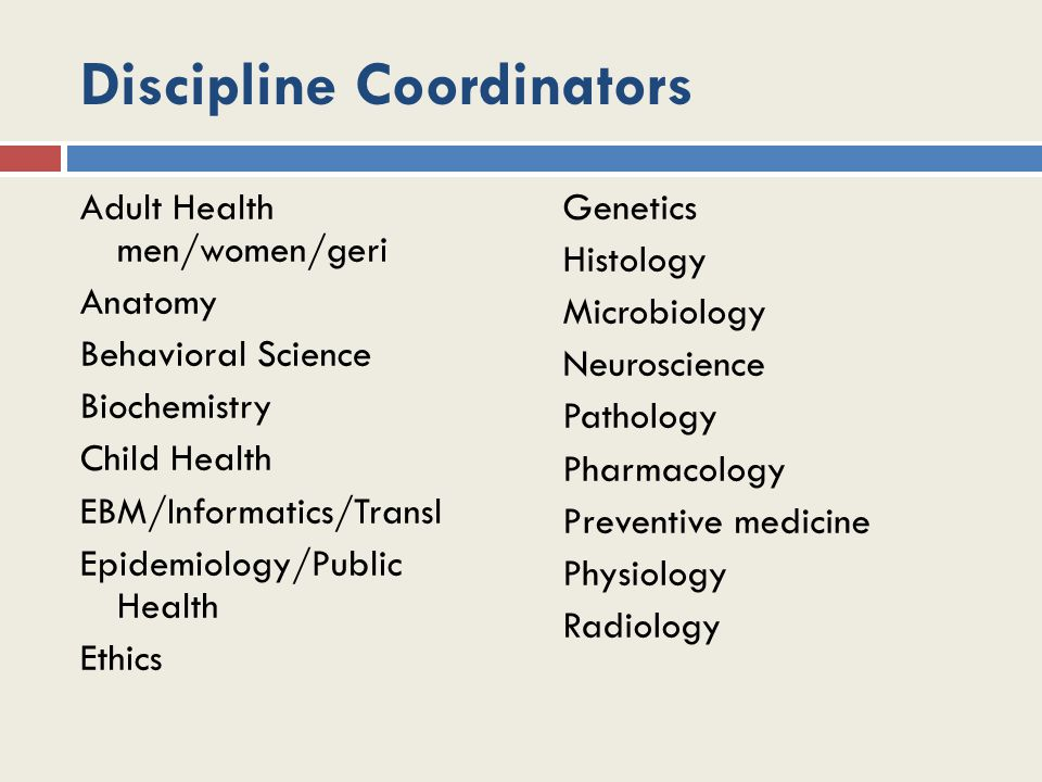 Discipline Coordinators Adult Health men/women/geri Anatomy Behavioral Science Biochemistry Child Health EBM/Informatics/Transl Epidemiology/Public He