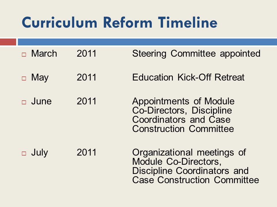Curriculum Reform Timeline  March 2011Steering Committee appointed  May 2011Education Kick-Off Retreat  June 2011Appointments of Module Co-Director