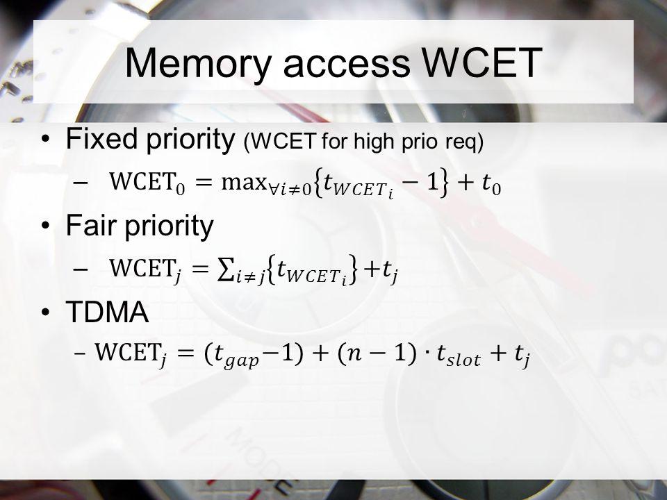 Memory access WCET