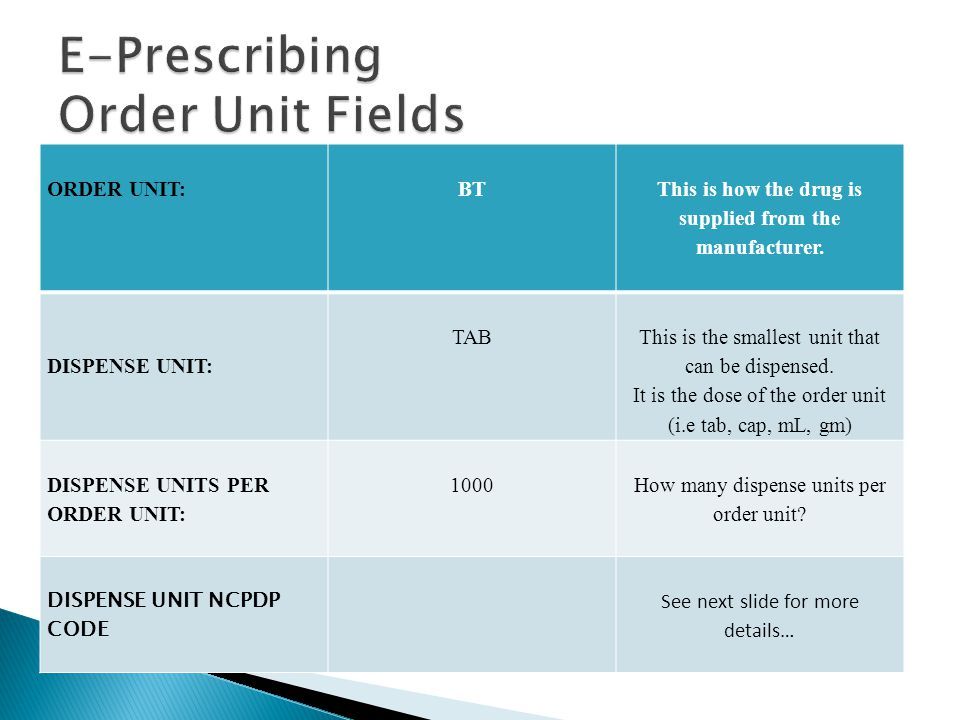ORDER UNIT:BT This is how the drug is supplied from the manufacturer.