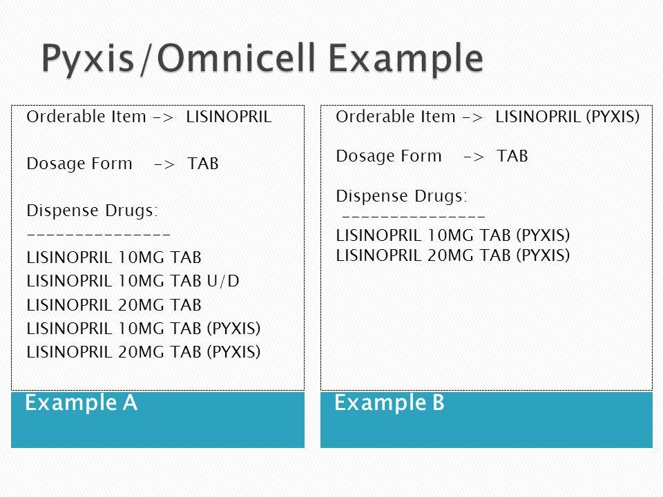 Example AExample B Orderable Item -> LISINOPRIL Dosage Form -> TAB Dispense Drugs: --------------- LISINOPRIL 10MG TAB LISINOPRIL 10MG TAB U/D LISINOPRIL 20MG TAB LISINOPRIL 10MG TAB (PYXIS) LISINOPRIL 20MG TAB (PYXIS) Orderable Item -> LISINOPRIL (PYXIS) Dosage Form -> TAB Dispense Drugs: --------------- LISINOPRIL 10MG TAB (PYXIS) LISINOPRIL 20MG TAB (PYXIS)