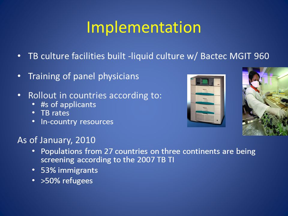 Implementation TB culture facilities built -liquid culture w/ Bactec MGIT 960 Training of panel physicians Rollout in countries according to: #s of applicants TB rates In-country resources As of January, 2010 Populations from 27 countries on three continents are being screening according to the 2007 TB TI 53% immigrants >50% refugees