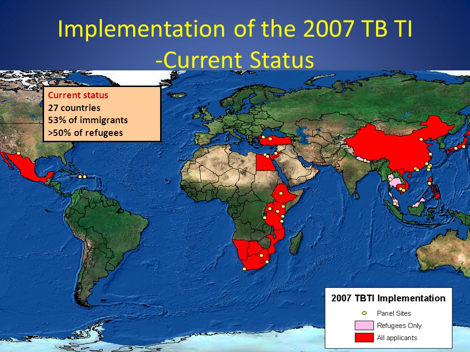 Implementation of the 2007 TB TI -Current Status Current status 27 countries 53% of immigrants >50% of refugees