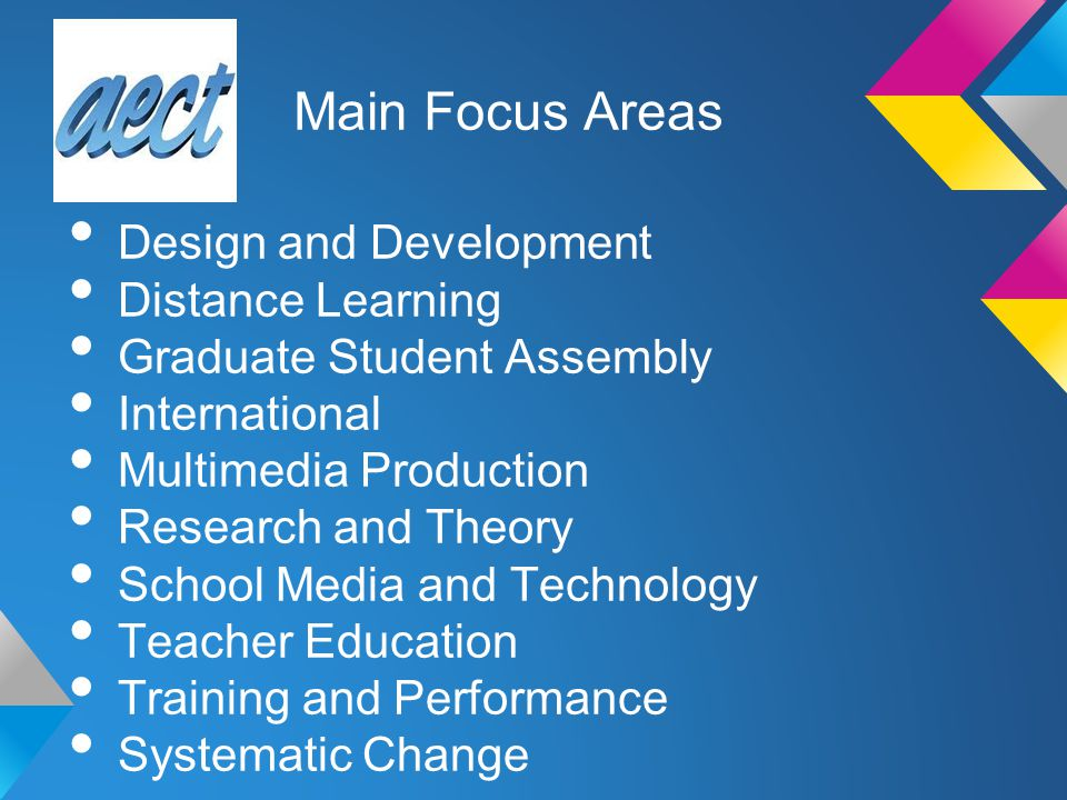 Design and Development Distance Learning Graduate Student Assembly International Multimedia Production Research and Theory School Media and Technology Teacher Education Training and Performance Systematic Change Main Focus Areas