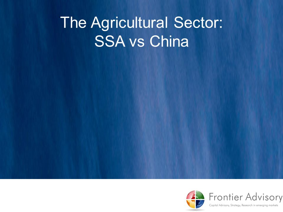 The Agricultural Sector: SSA vs China