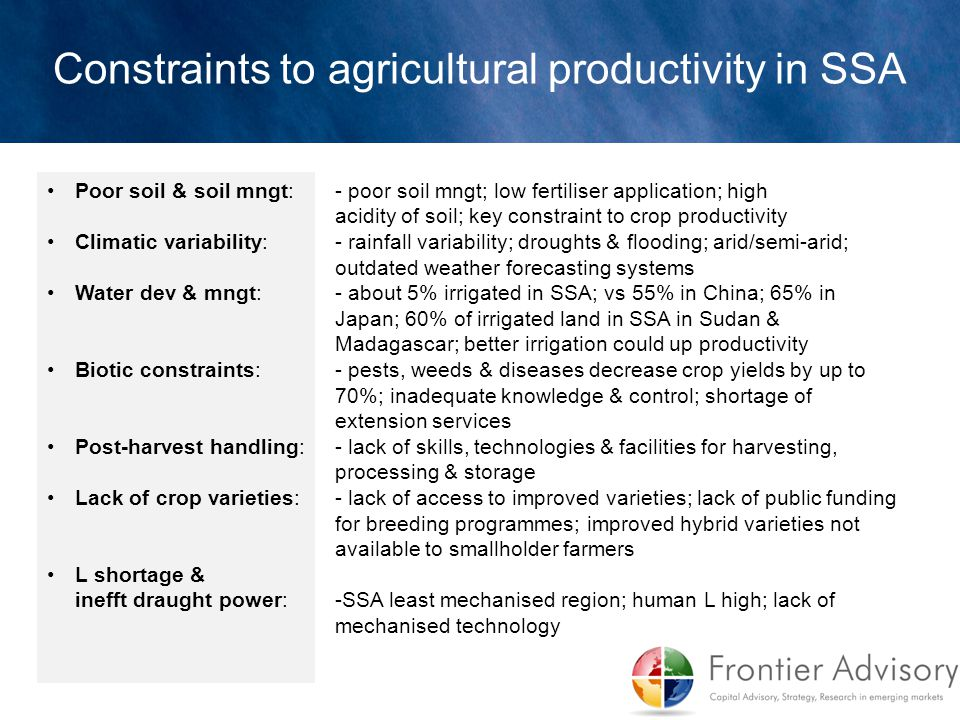 Constraints to agricultural productivity in SSA Poor soil & soil mngt: - poor soil mngt; low fertiliser application; high acidity of soil; key constra