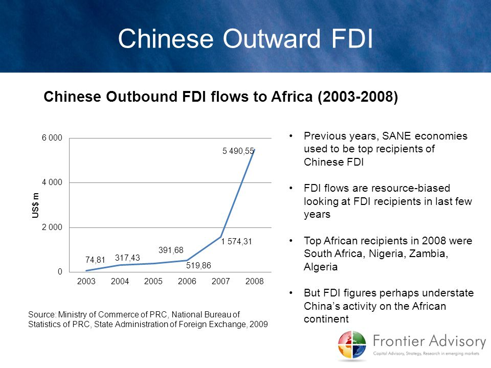 Previous years, SANE economies used to be top recipients of Chinese FDI FDI flows are resource-biased looking at FDI recipients in last few years Top