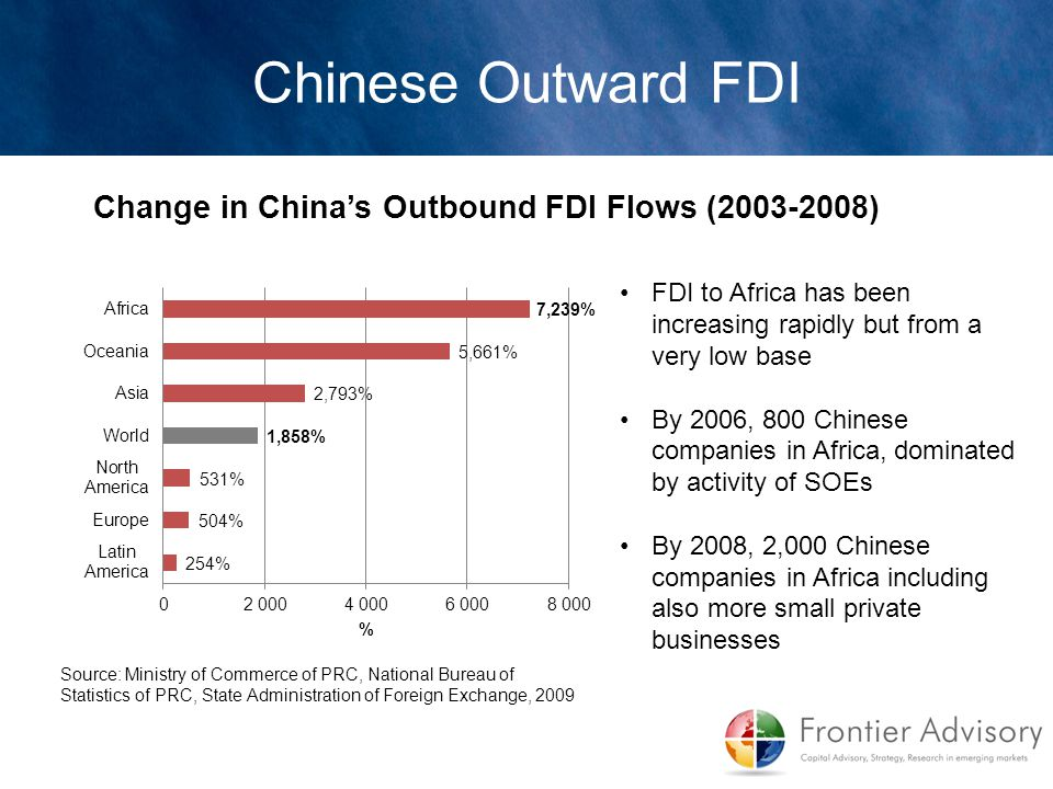 FDI to Africa has been increasing rapidly but from a very low base By 2006, 800 Chinese companies in Africa, dominated by activity of SOEs By 2008, 2,