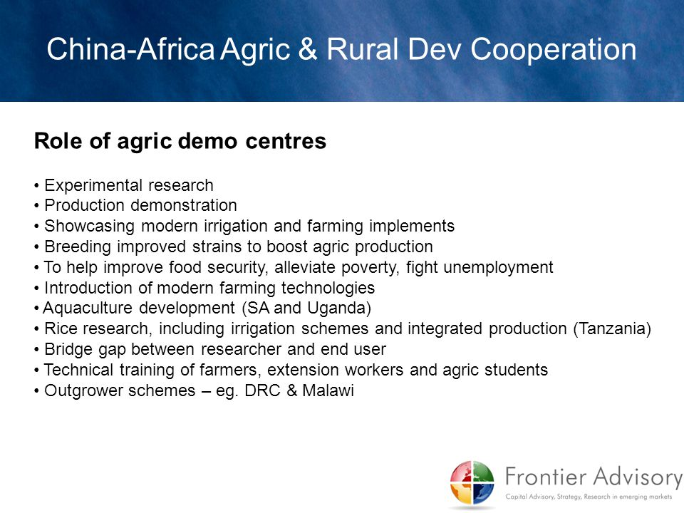 Role of agric demo centres Experimental research Production demonstration Showcasing modern irrigation and farming implements Breeding improved strain