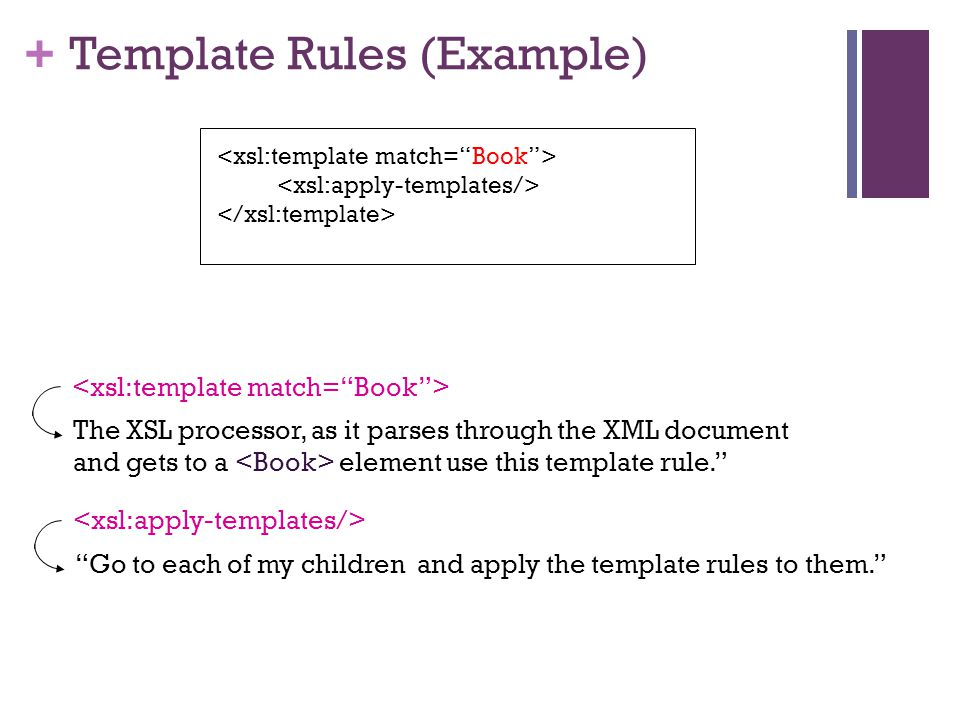 + Template Rules (Example) The XSL processor, as it parses through the XML document and gets to a element use this template rule. Go to each of my children and apply the template rules to them.