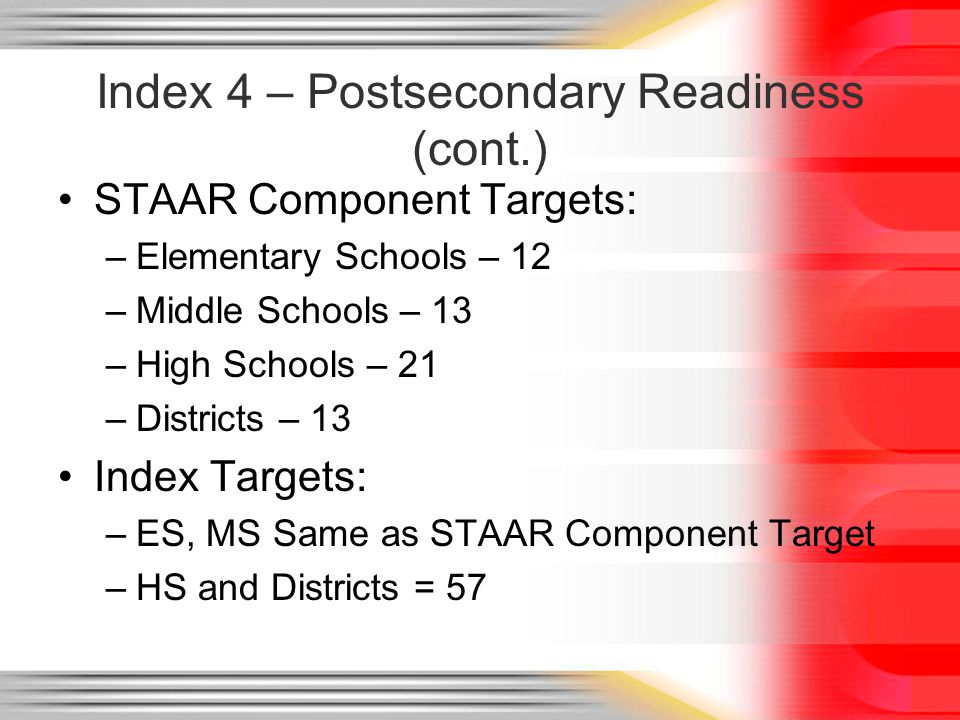 Index 4 – Postsecondary Readiness (cont.) STAAR Component Targets: –Elementary Schools – 12 –Middle Schools – 13 –High Schools – 21 –Districts – 13 Index Targets: –ES, MS Same as STAAR Component Target –HS and Districts = 57