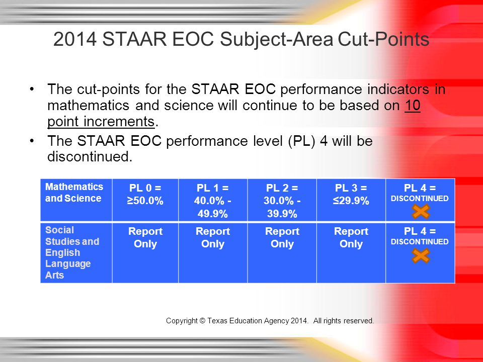 The cut-points for the STAAR EOC performance indicators in mathematics and science will continue to be based on 10 point increments.