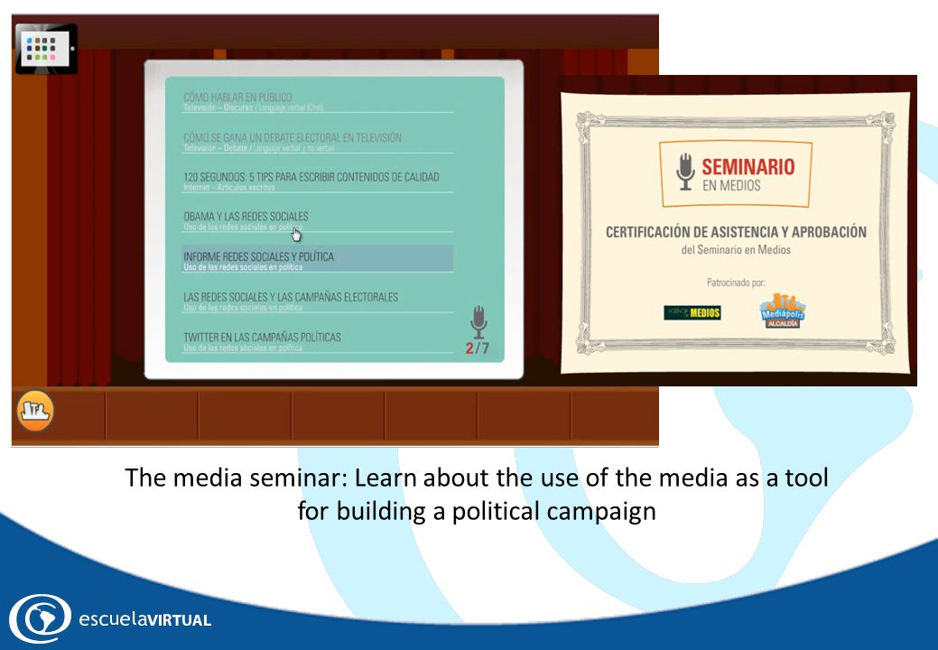 The media seminar: Learn about the use of the media as a tool for building a political campaign