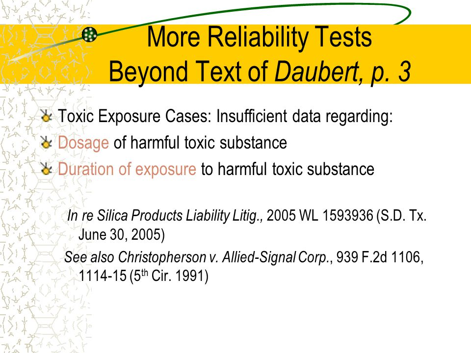More Reliability Tests Beyond Text of Daubert, p.