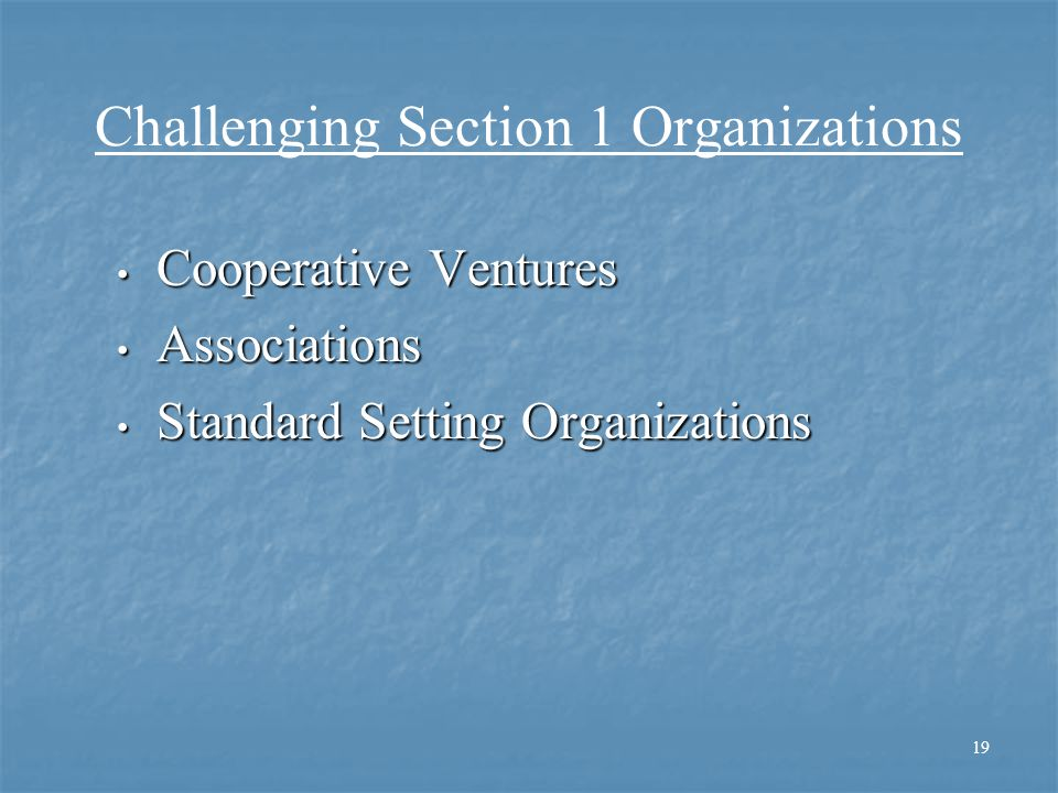 Challenging Section 1 Organizations Cooperative Ventures Cooperative Ventures Associations Associations Standard Setting Organizations Standard Settin