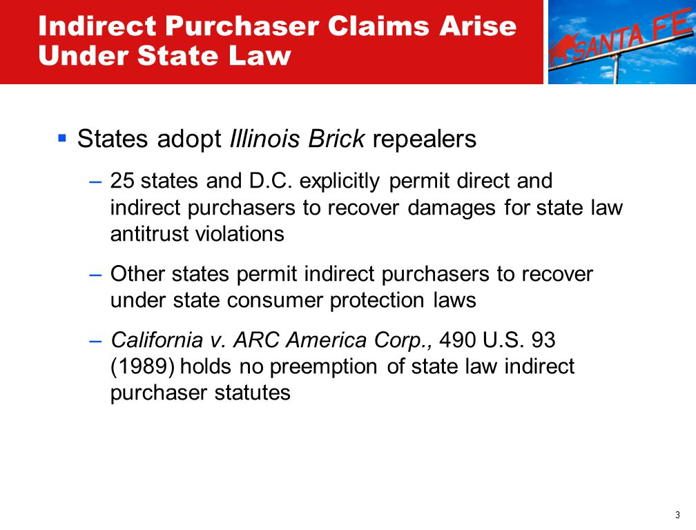 3 Indirect Purchaser Claims Arise Under State Law  States adopt Illinois Brick repealers –25 states and D.C.