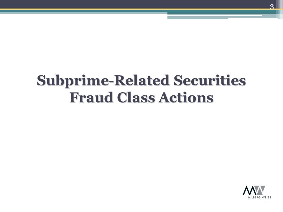 14  Class actions are brought on behalf of the 401(k) plan by individual plan participants  Claim brought pursuant to Sections 409 and 502(a)(2) of the Employment Retirement Income Retirement Security Act of 1974 ( ERISA ) to recover losses to the plan for which Defendants are personally liable  Other equitable relief is also sought from Defendants under Section 502(a)(3), including injunctive relief, constructive trust, restitution and other monetary relief Basics (cont.): Subprime-Related ERISA Actions (cont.)