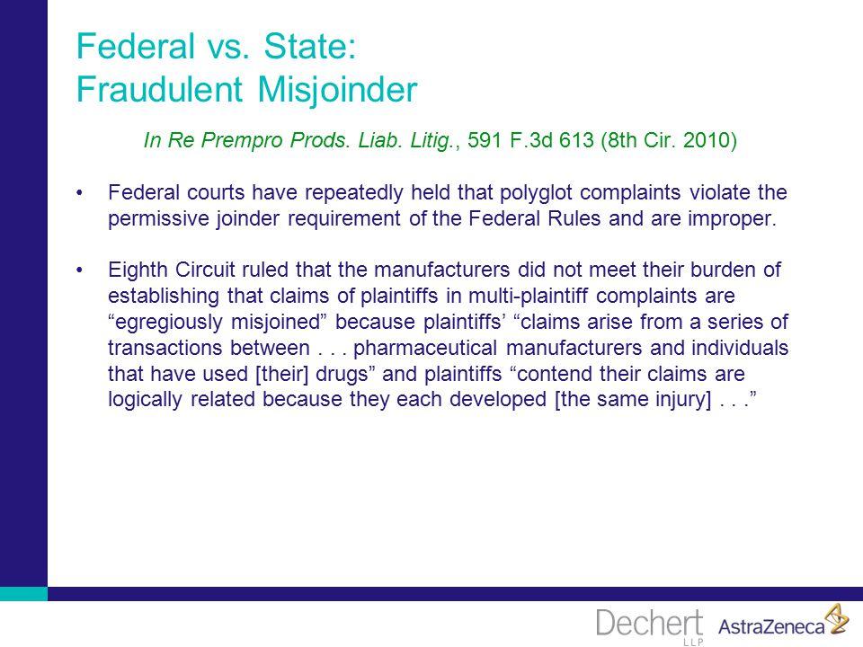 Federal vs. State: Fraudulent Misjoinder In Re Prempro Prods.