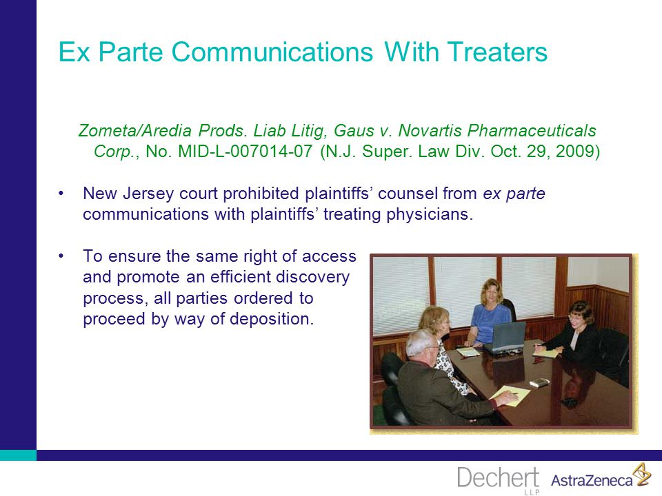 Ex Parte Communications With Treaters Zometa/Aredia Prods.