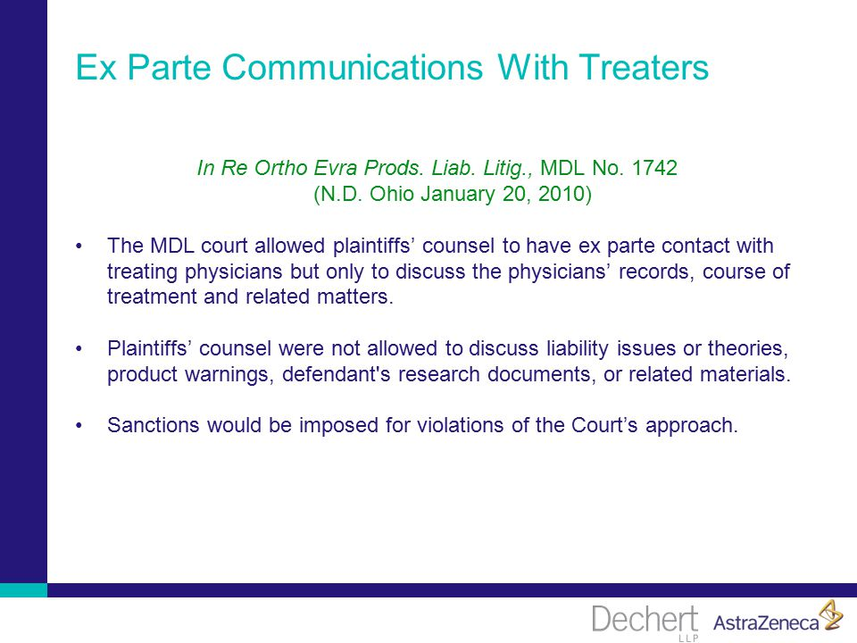 Ex Parte Communications With Treaters In Re Ortho Evra Prods.
