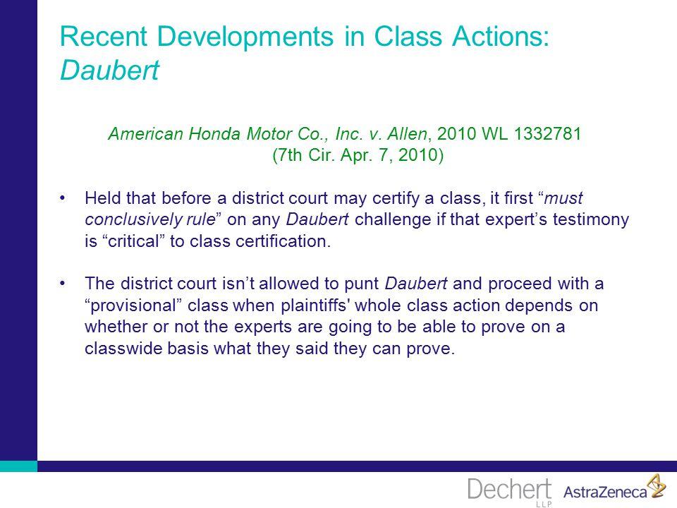 Recent Developments in Class Actions: Daubert American Honda Motor Co., Inc.