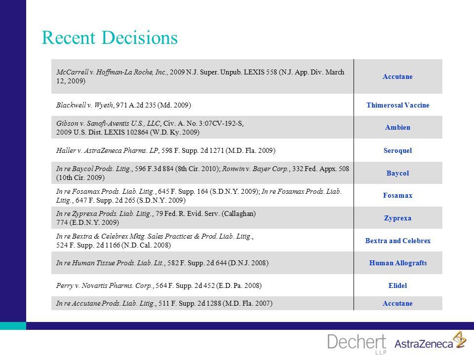 Recent Decisions McCarrell v. Hoffman-La Roche, Inc., 2009 N.J.