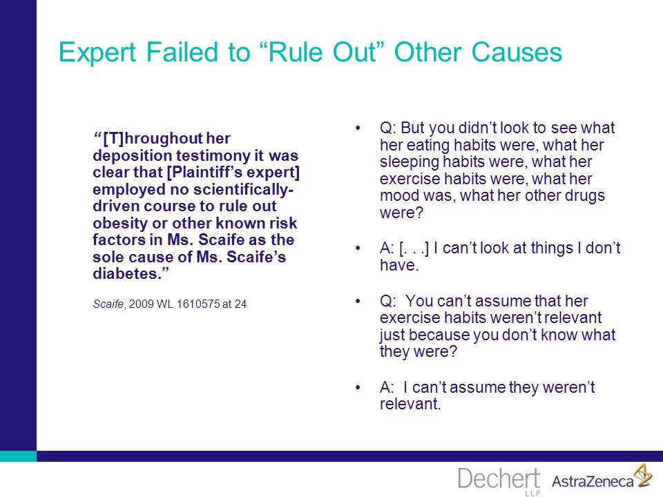 Expert Failed to Rule Out Other Causes [T]hroughout her deposition testimony it was clear that [Plaintiff's expert] employed no scientifically- driven course to rule out obesity or other known risk factors in Ms.