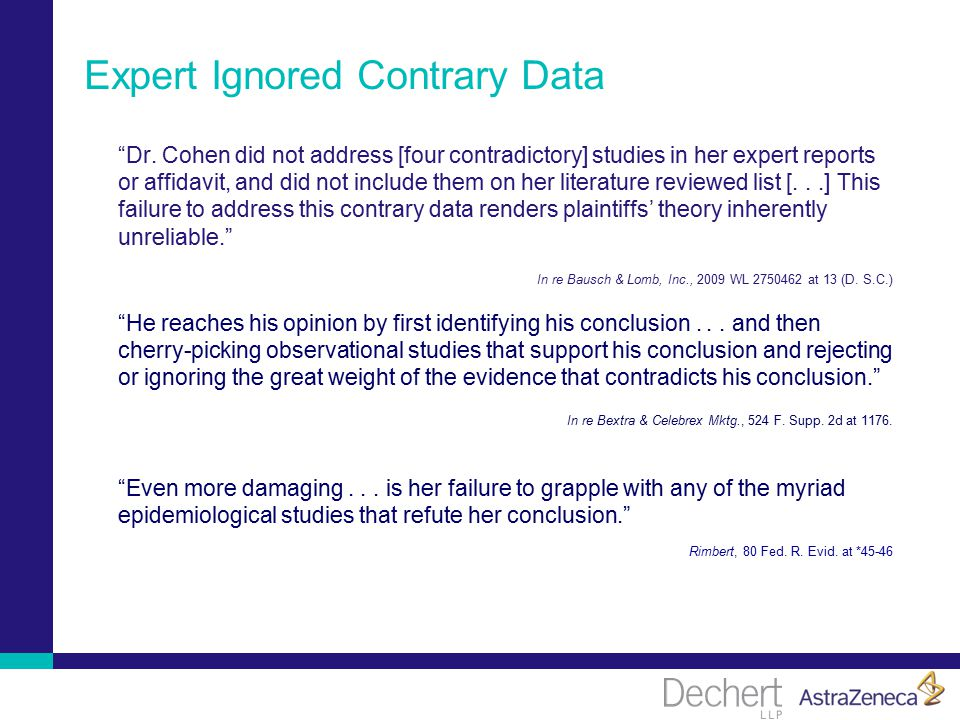 Expert Ignored Contrary Data Dr.