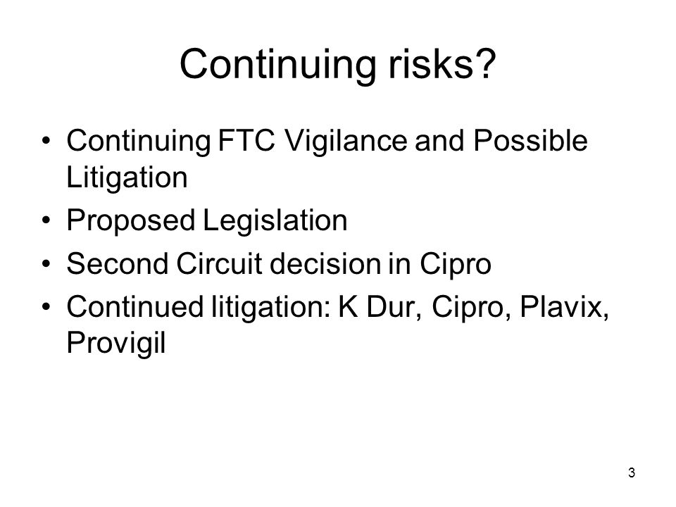 14 Types of Agreements that Must Be Filed Agreements, including settlements, interim settlements, stipulations –To stay off the market for any period of time, including –In exchange for extending a briefing schedule –Pending a court decision to avoid the need for a temporary restraining order –Transfer of ANDA –Introduction of authorized generic –Production –Co-promotion –180-day exclusivity