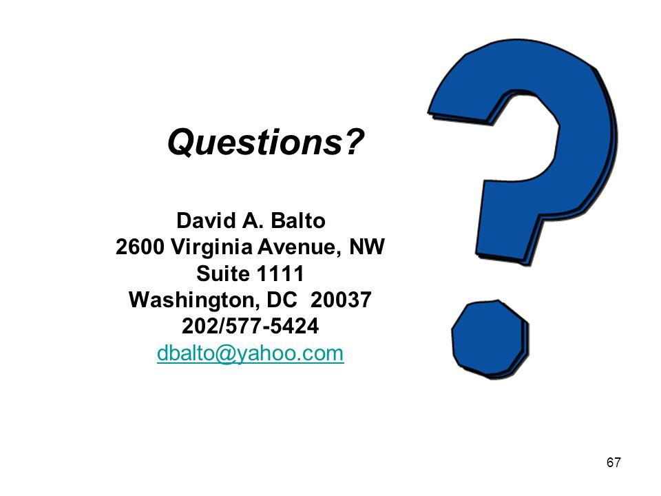 67 Questions. David A.