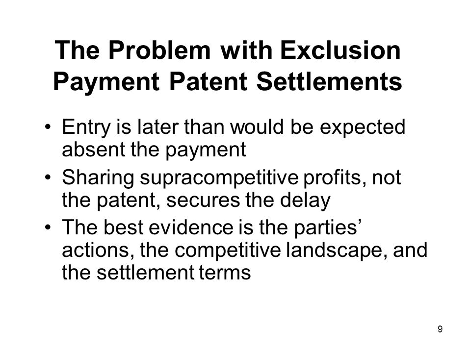 10 Incentive to Pay for Delay Monopoly Incumbent's Profits Payment to Entrant Incumbent's Profits Retained Monopoly Expected Competition Entrant's Profits Consumer Savings Incumbent's Profits