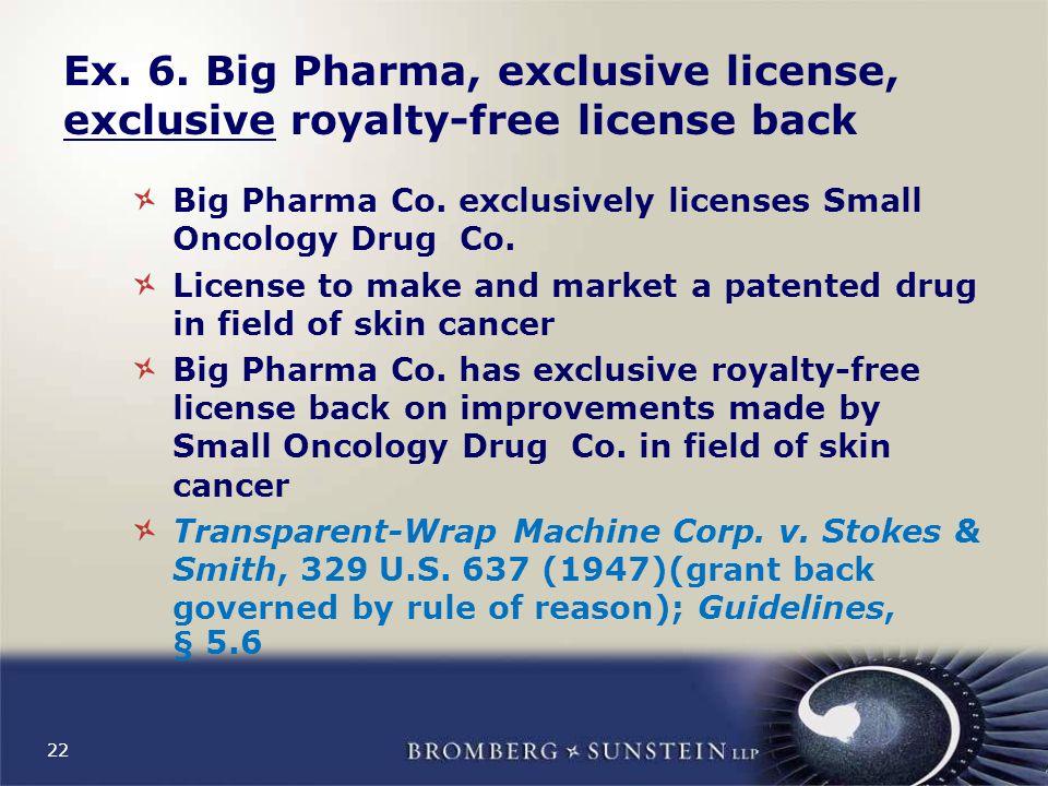 22 Ex. 6. Big Pharma, exclusive license, exclusive royalty-free license back Big Pharma Co.