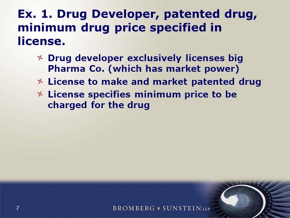 7 Ex. 1. Drug Developer, patented drug, minimum drug price specified in license.