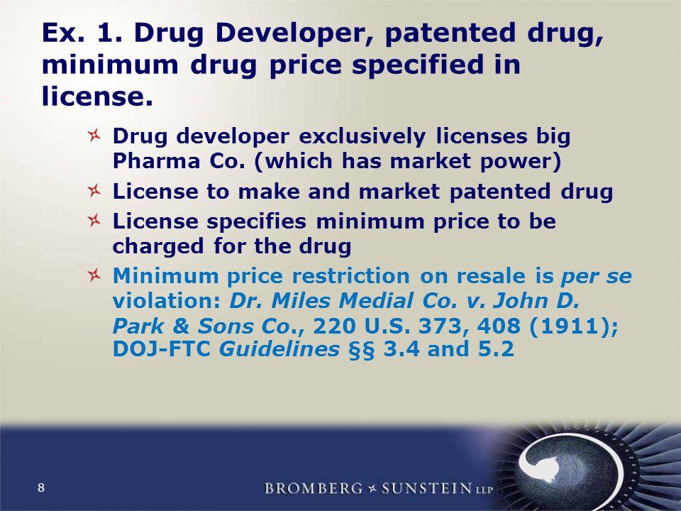 8 Ex. 1. Drug Developer, patented drug, minimum drug price specified in license.