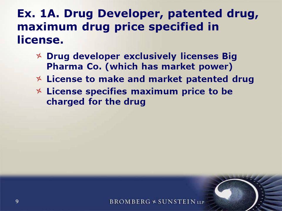 9 Ex. 1A. Drug Developer, patented drug, maximum drug price specified in license.