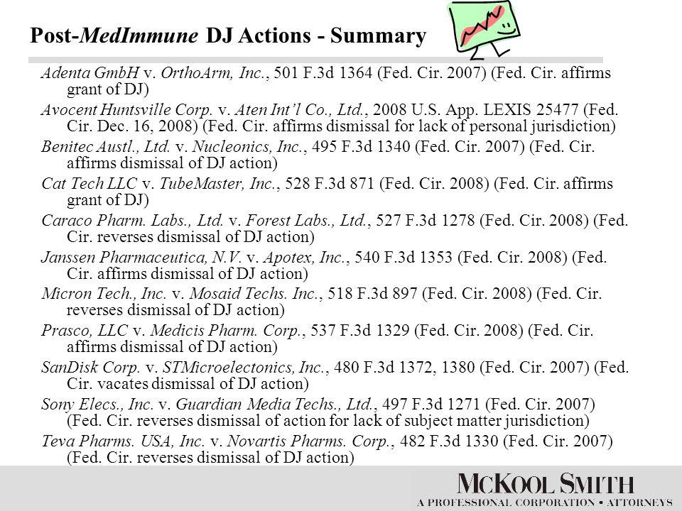 Adenta GmbH v. OrthoArm, Inc., 501 F.3d 1364 (Fed. Cir. 2007) (Fed. Cir. affirms grant of DJ) Avocent Huntsville Corp. v. Aten Int'l Co., Ltd., 2008 U